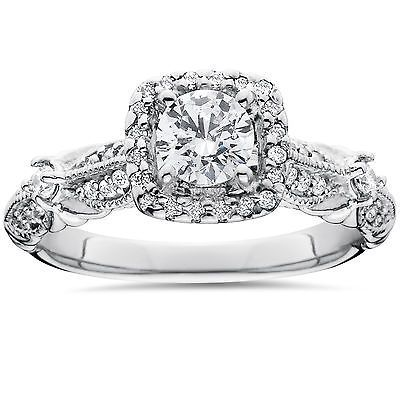 1 1/2ct Diamond Cushion Halo Vintage Engagement Ring 14K White Gold