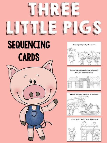 Three Little Pigs Sequencing Cards Printable by PreKinders.com
