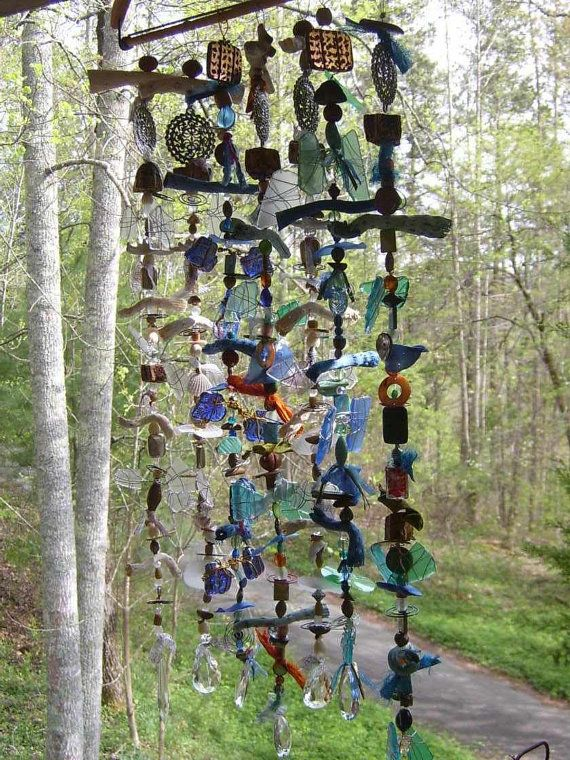 Colorful Crystal, Sea Glass & Beaded Suncatcher Pendant.  Hang outside or in window.  Very Unique