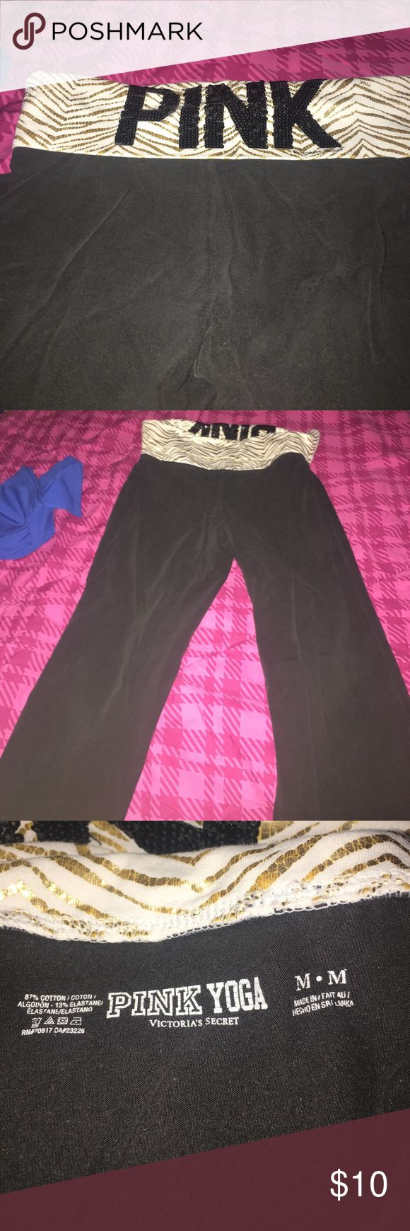Vs pink yoga pants medium Vs pink yoga pants medium! These are in loved condition but lots of love left in them ! The band at the top is white w/ gold zebra stripes & pink written in black sequins. All still are attached as far as I can tell lol😀 PINK Victoria's Secret Pants Track Pants & Joggers