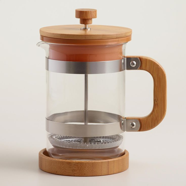 Our exclusive version of the classic French press features a natural bamboo base, lid and press handle that adds a rustic elegance to your coffee routine. >> #WorldMarket Mother's Day