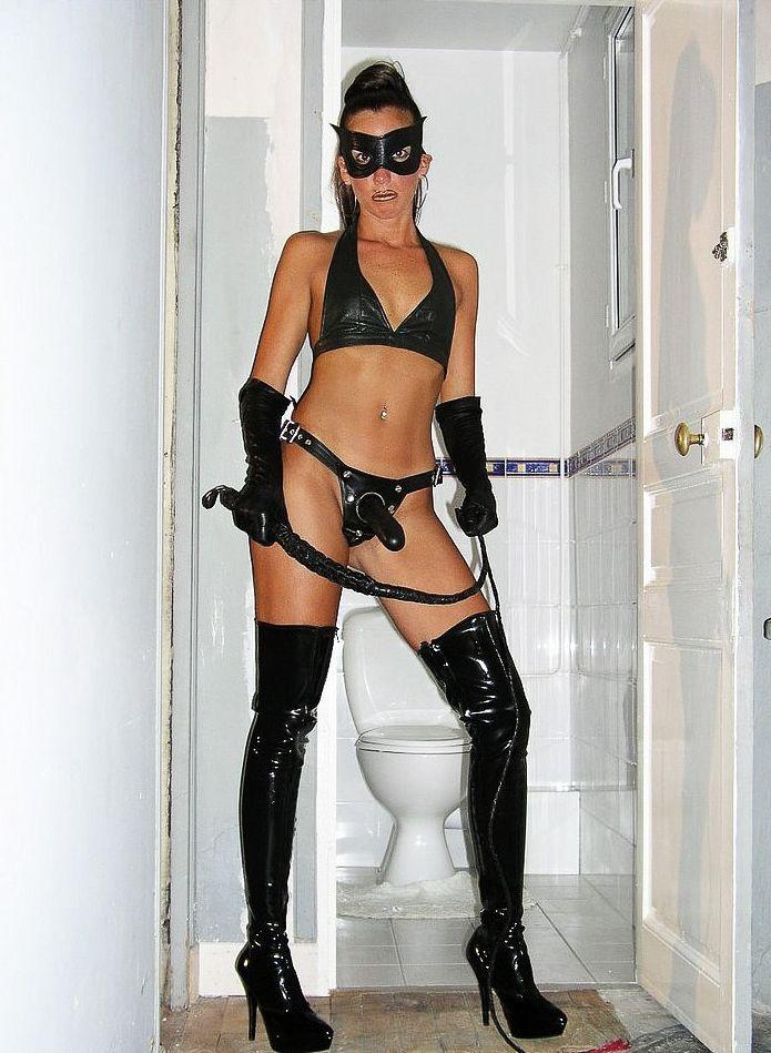 Girl wearing strapon
