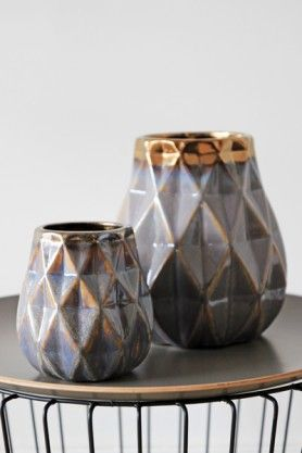 Glazed Geometric Vase available in Large & Small
