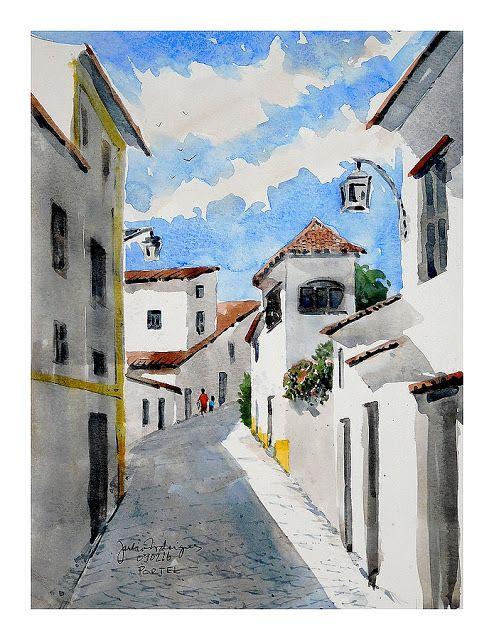 Transatlanta Aguarelas Portuguesas: A street in Portel - Rua em Portel