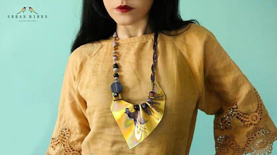Leather Necklace Golden Necklace Handmade Purple Birds