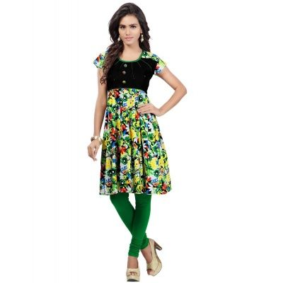 Engaging Multicolor Cotton Printed Kurti