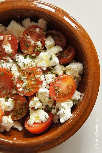 Tomatoes, Feta, Rosemary and Olive Oil    simple cooking at its best