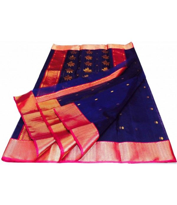 Purple Chanderi Handloom Silk Saree