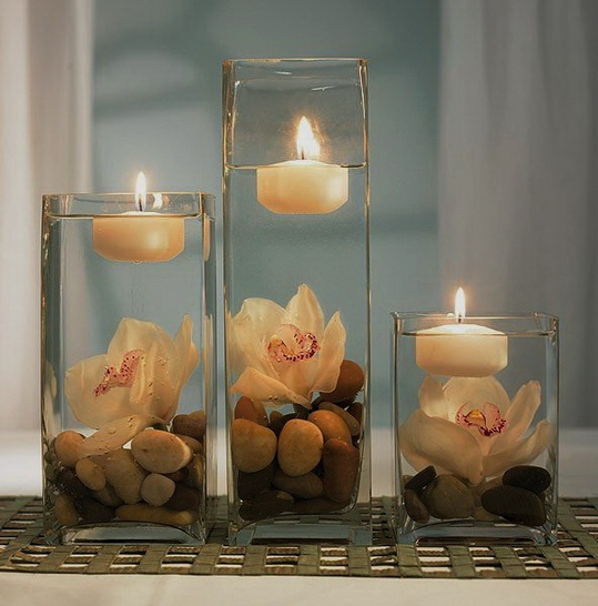 Dreamy table decor for soft, romantic lighting | bing.com: Centerpiece Ideas, Centerpieces Ideas, Decor, Floating Candles, Weddings,  Wax Lights, Wedding Centerpieces, Flower, Center Pieces