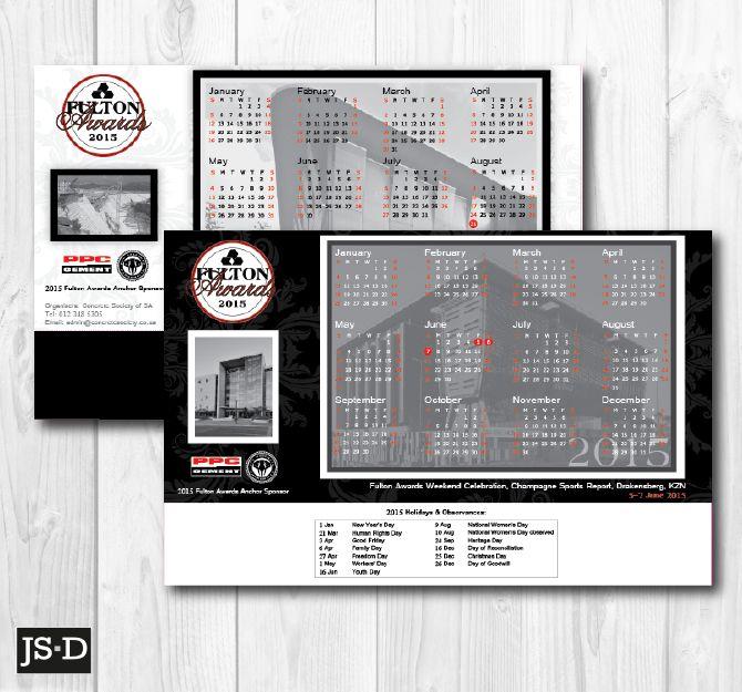 Desk Calendar Designed for 2015 Fulton Awards, a Concrete Society of SA event