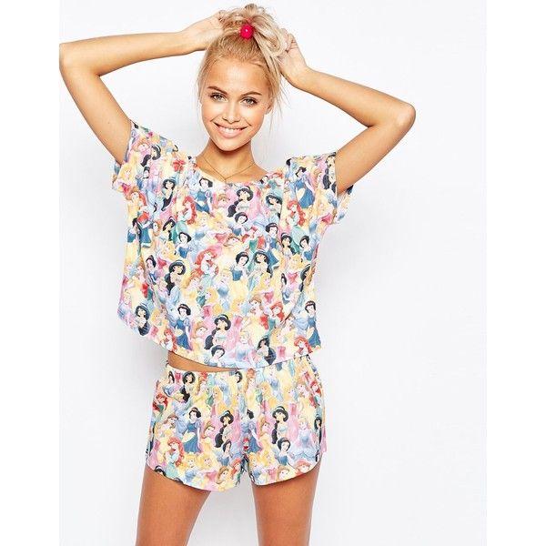 ASOS Disney Princesses Short and Tee Pajama Set ($38) ❤ liked on Polyvore featuring intimates, sleepwear, pajamas, multi, cotton pajamas, cotton pjs, cotton pajama set, cotton jersey and short sleepwear