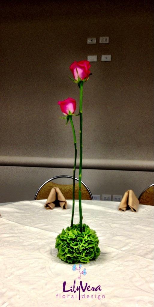 #centro de mesa #wedding #rosas #verde #boda #eventos