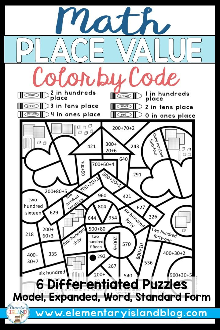Place Value Coloring Worksheets Place Values Elementary