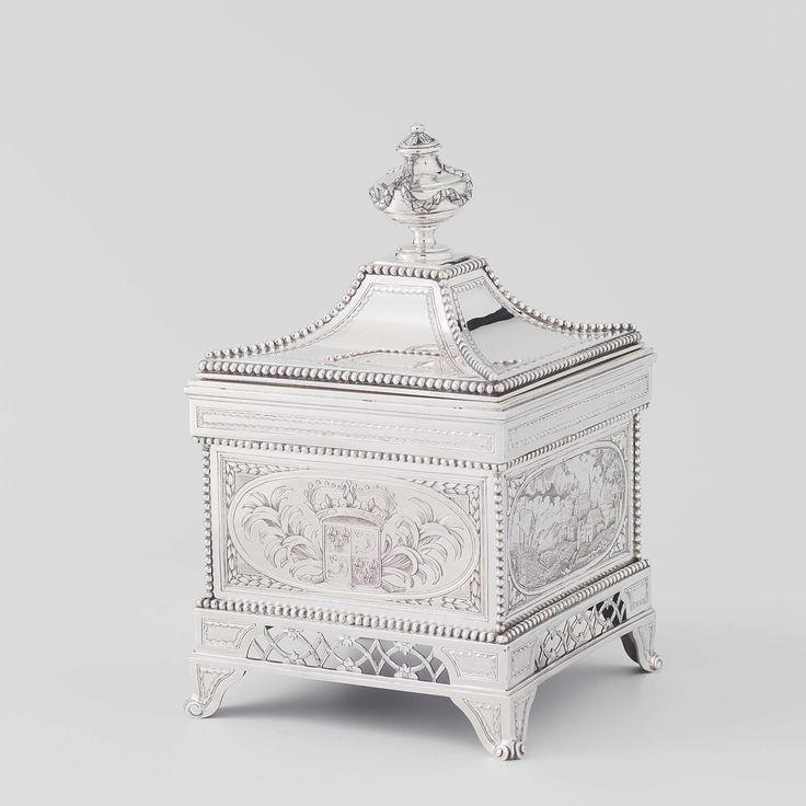 Tabakspot, vervaardigd als herinnering aan de toekenning op 26 januari 1787 door de Acad�mie Royale et Patriotique van Valence, van een ereprijs aan Adriaan Paets van Troostwijk (1752-1837) en Cornelis Kraijenhoff (1758-1840), Johannes Schiotling, 1787