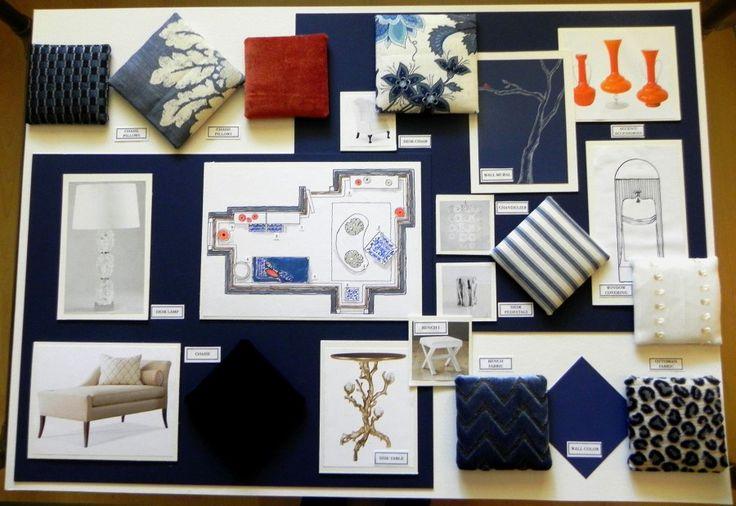 Concept boards blue orange mood boards and interiors Interior design bathroom concept board