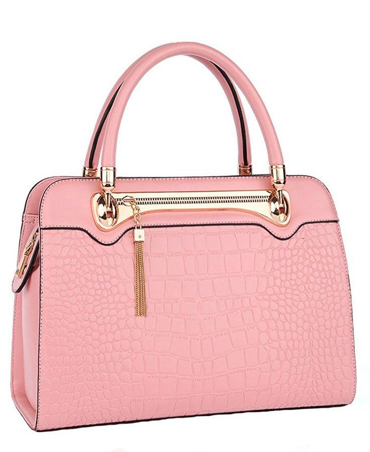 ILISHOP Hot Sale Women's Genuine Leather Tassel Casual Crocodile Top Handle Tote Shoulder Crossbody Bag Satchel Purse Handbag (Light-blue): Handbags: Amazon.com