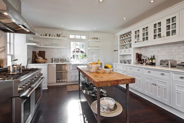 big, white, country kitchen