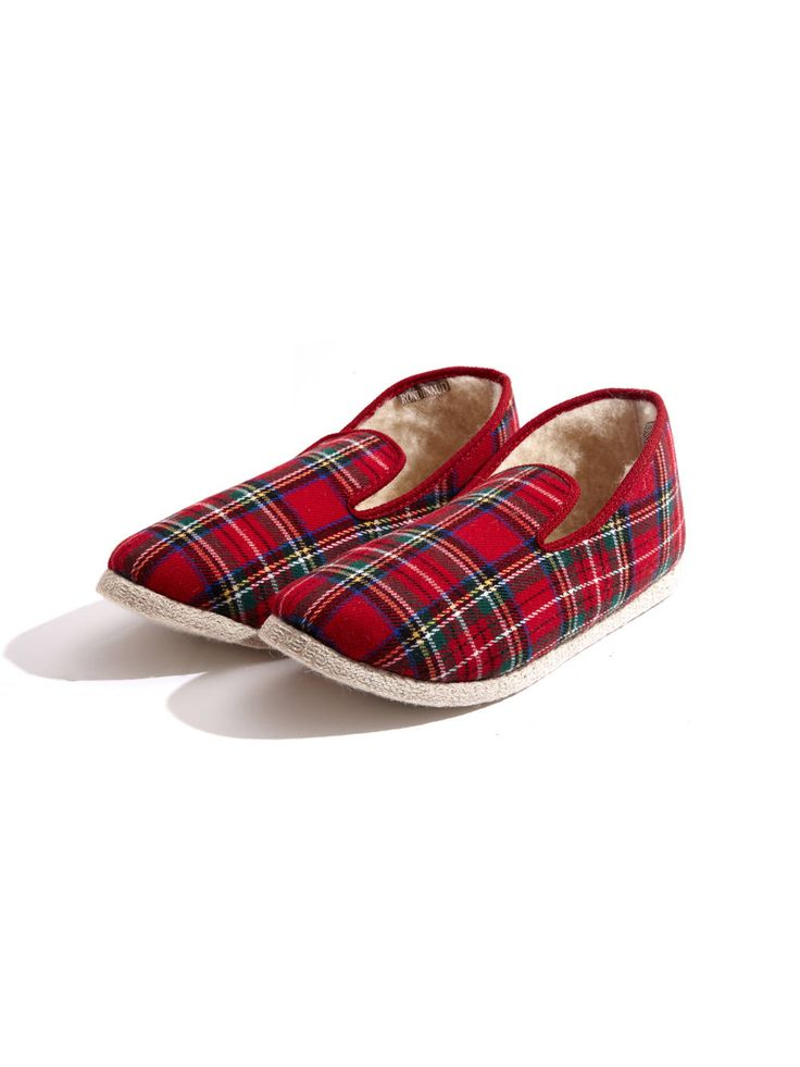 Women's Charentaise Red Plaid Slippers - cutest slippers ever