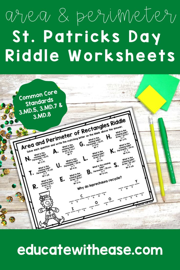 Area & Perimeter St. Patrick's Day Riddle Worksheets in