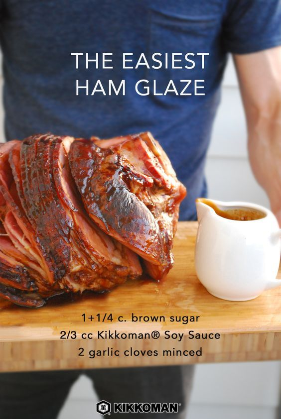 The Easiest Ham Glaze | Spiral ham is an affordable meat dish to serve to a crowd. Dress it with an easy glaze using just 3 staple ingredients: Kikkoman®️ Soy Sauce, minced garlic, and brown sugar. Serve with a side of Roasted Root Vegetables or Sweet Potato Casserole. Find all three recipes at KikkomanUSA.com. | #Kikkoman #comfortfood #hygge #winterrecipes #fallrecipes #easyrecipes #easydinner #holidays #Christmas #Christmasdinner #holidaydinner #Thanksgivingrecipes #ThanksgivingDay