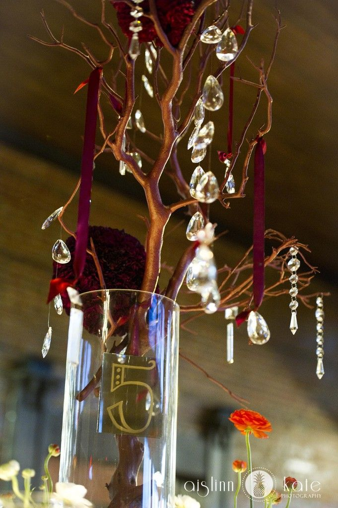 crystal centerpieces, crystals, manzanita branches, branch centerpieces (Pensacola Wedding Photographer)
