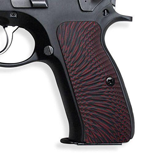 COOL HAND CZ 75 Grips, Full Size ,Sunburst Texture , G10 Dark Red/Black