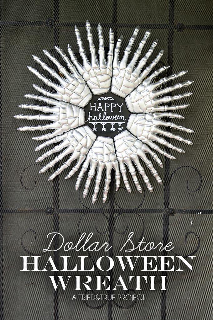 Dollar Store Halloween Wreath. So cool!!