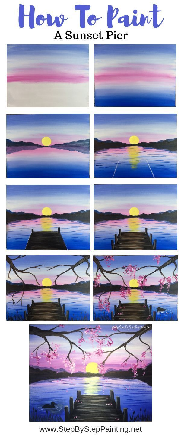 How to Paint a Sunset Lake Pier – Step by Step, Painting, #a # Painting …, #comment #step #jetee #peindr …