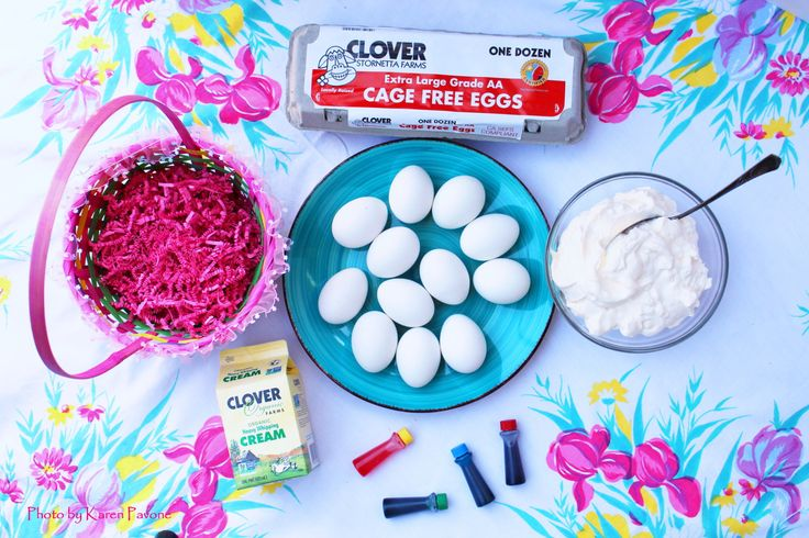 """Easter Sunday is almost here, and households everywhere are gearing up for the annual visit from the """"Bunny."""" If decorating Easter Eggs is a part of your family tradition, you'll love this fun and colorful DIY project for making tie-dye inspired eggs. This simple recipe uses Clover Cage Free Eggs and Clover Heavy Whipping Cream …"""
