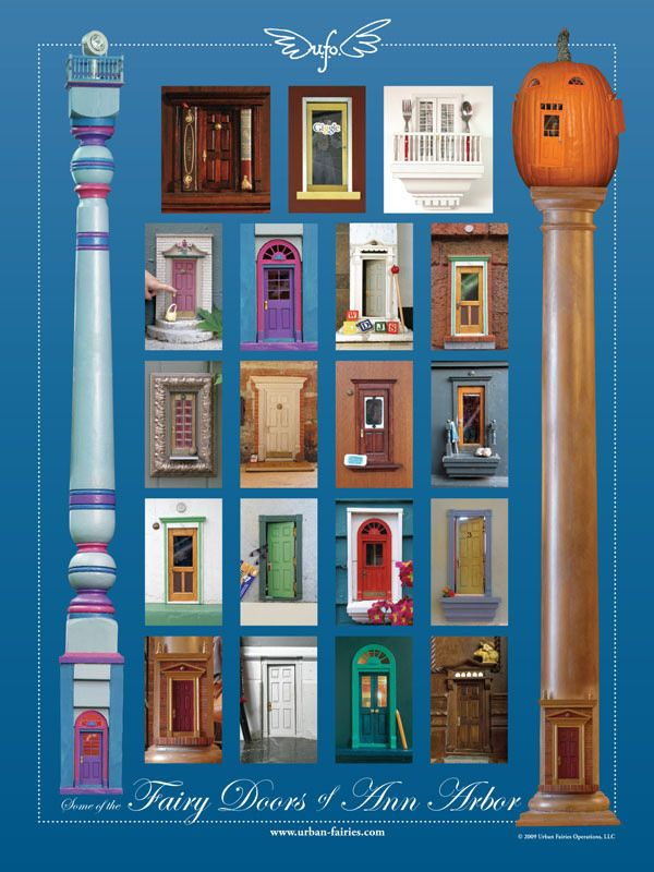 """18"""" x 24"""" poster of most of the fairy doors past and present. It comes with a legend to identify each."""