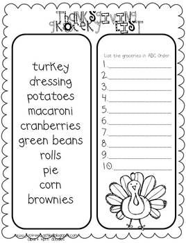 Thanksgiving Grocery List. I would have my Kinders write each word and maybe write sentence.