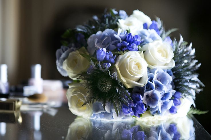 A Blue and White beautiful Bouquet for the Bride
