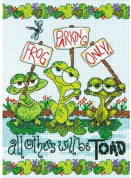 Dimensions Frog Parking - Cross Stitch Kit. This cross stitch kit features frogs and the humorous sentiment Frog parking only - all others will be toad. This ki