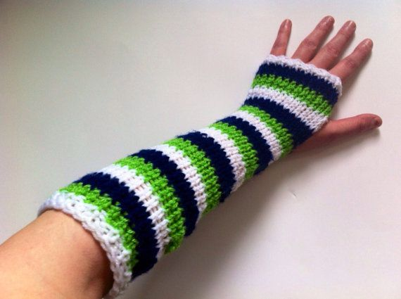 Seattle Seahawks Wrist and Arm Warmers Elbow by LittleVisionsArt