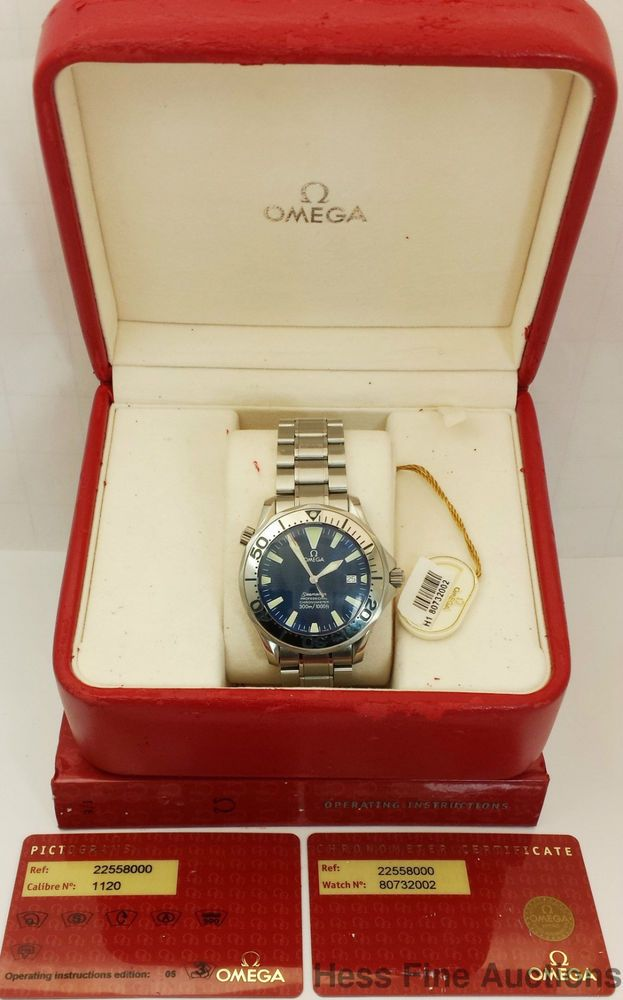 Genuine Omega Seamaster Professional Chronometer Blue Dial Watch Box Papers	 #OMEGA