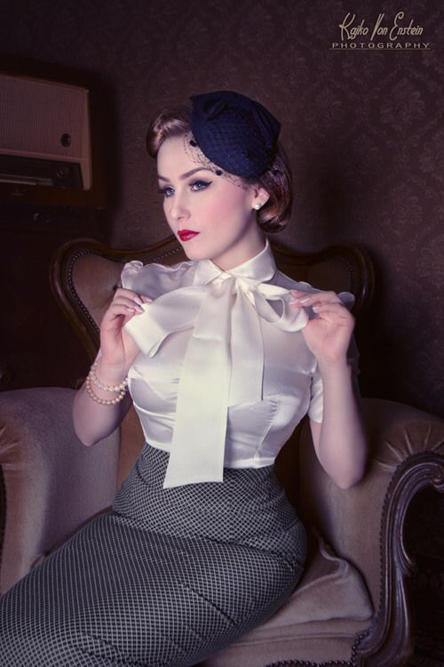 Grey Pencil Skirt And White Satin Bow Blouse Satin