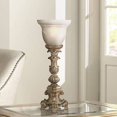 French candlestick beige wash 18 high accent console lamp