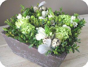 Bloemschikken Pasen : Paasstuk maken in groentinten