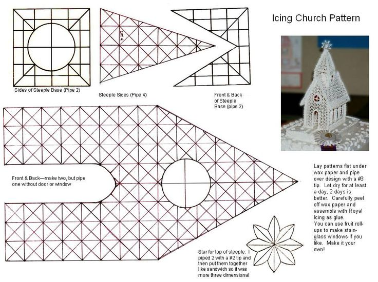 - This is the pattern for my Icing Church.you make with Royal Icing.  I'll have to do in two parts.  Here is page 1.  You can see larger photo at: http://www.cakecentral.com/cake-photo_1180413.html   Hope you enjoy, do make it your own, and post photos if you make this.