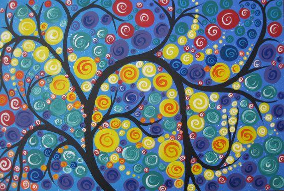 tree of life painting with circle circles huge big by SheerJoy, $348.00