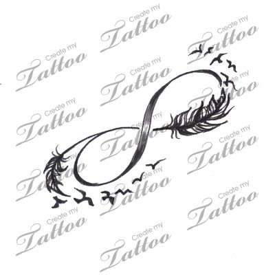 Infinity with feathers and birds tattoo design voorbeeld for Infinity sign tattoo cover up
