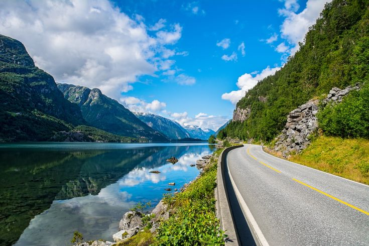 Amazing nature view with fjord and mountains. Norway