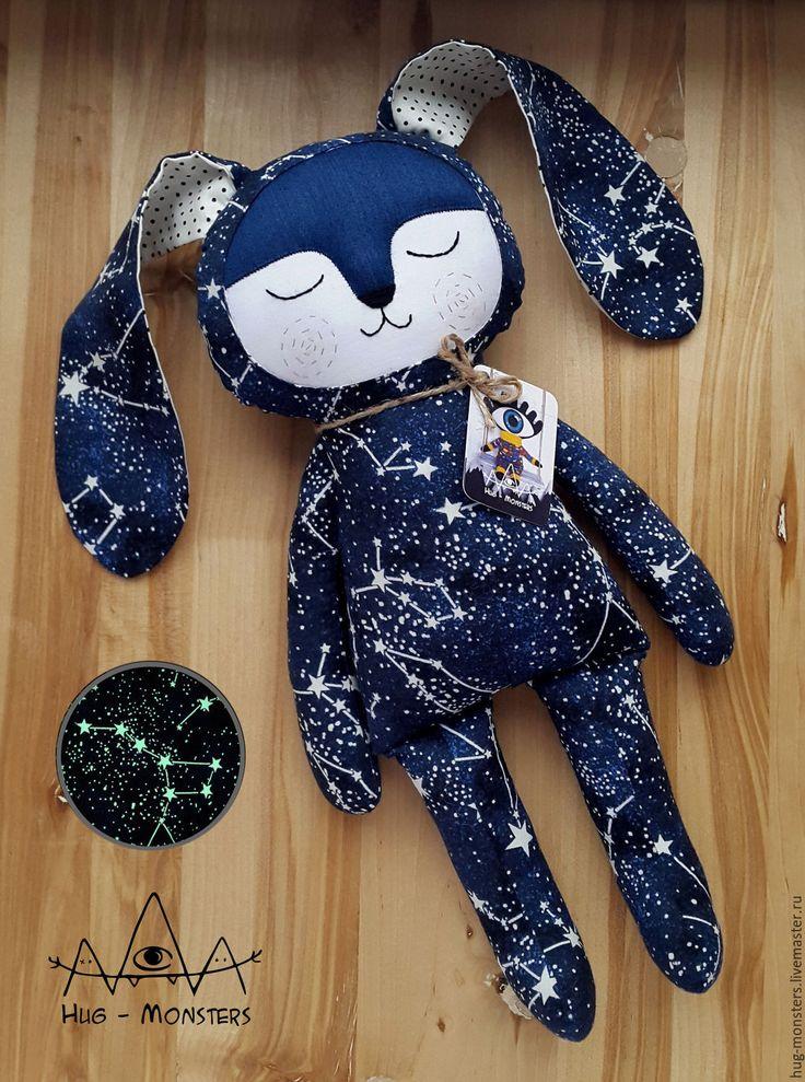Купить Игрушка сплюшка зайка для младенцев и детей до 7 лет - комбинированный, синий, звезда, созвездие