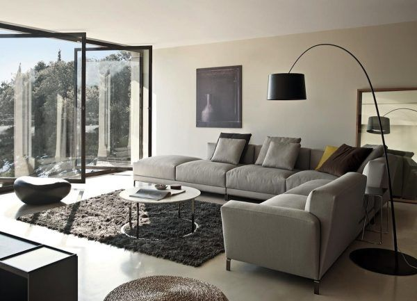 grey sofa living room design ideas with black arch floor lamp feat large glass windows - Living Room Sectional Design Ideas