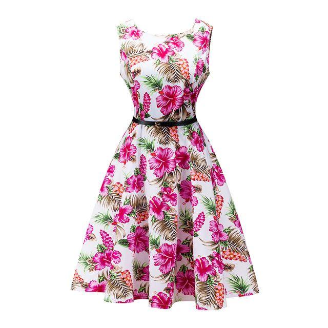 HimanJie Женские винтажные 1950 S цветочный принт Бауайния цветок розы красные вечерние элегантные женские пикантные винтажные пояса платье Новинка 2017 платья
