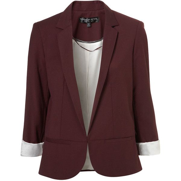 TOPSHOP Petite Structured Blazer ($55) ❤ liked on Polyvore featuring outerwear, jackets, blazers, tops, coats, aubergine, tailored blazer, brown jacket, structured jacket and structured blazer