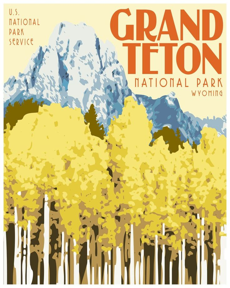 Grand Teton National Park Travel Poster, Vintage National Park Print