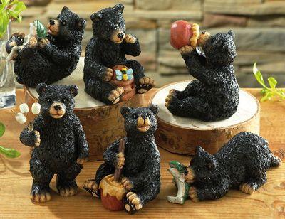Natures Black Bear Sitters Figurines