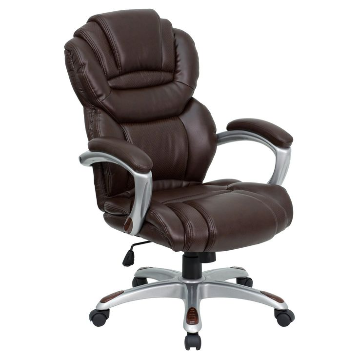 Executive Swivel Office Chair Brown Leather - Flash Furniture