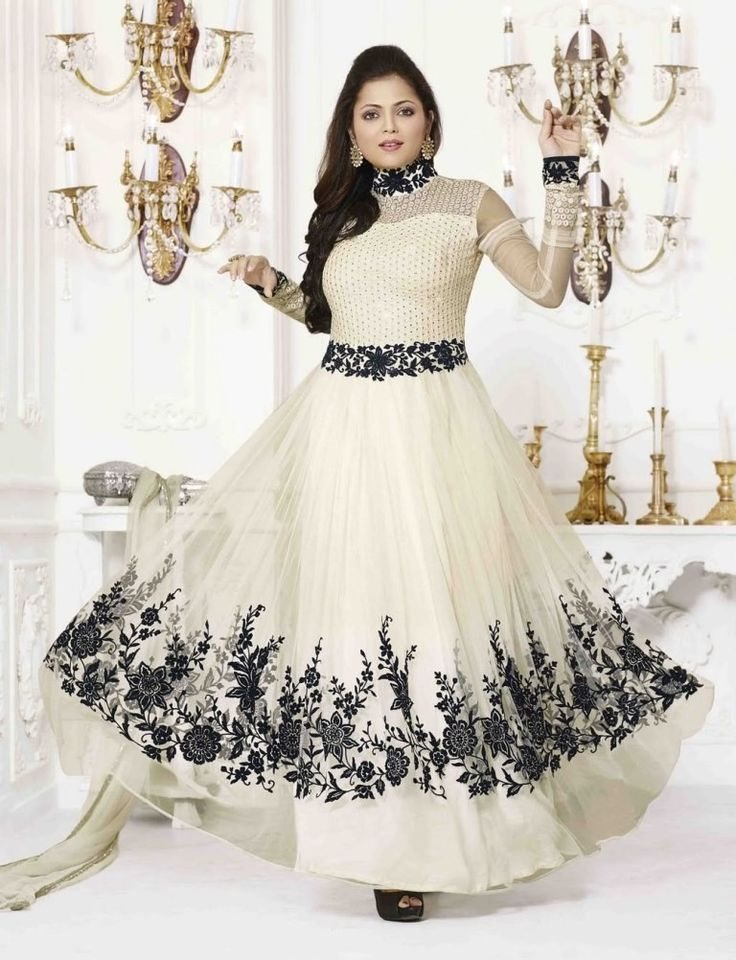 Drashti Dhami Net Thread Work Cream Semi Stitched Long Anarkali Suit - 126 at Rs 1249